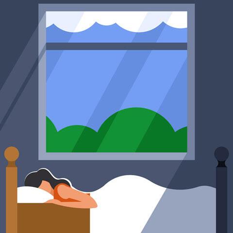 窓の側のベッドで眠る女性