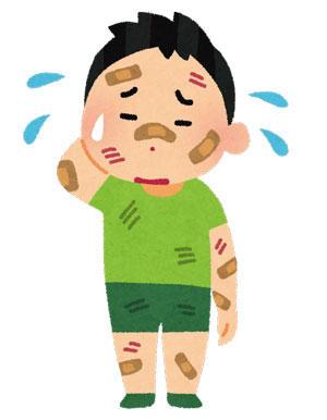 怪我をしている男の子