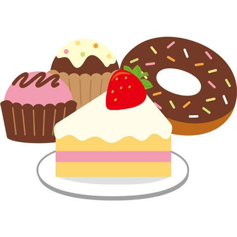ショートケーキとドーナツとカップケーキ