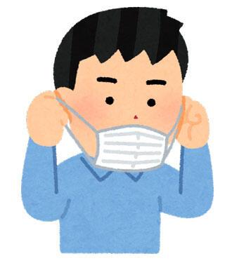 マスクを外している人