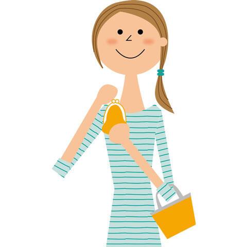 財布を持ってショッピングに出かける女性