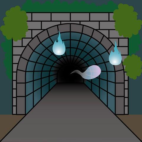 火の玉が飛ぶトンネル