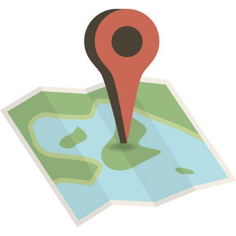 地図と現在地を示すマップピン
