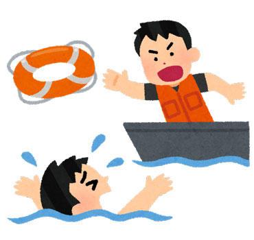 溺れている人に浮き輪を投げる救助員