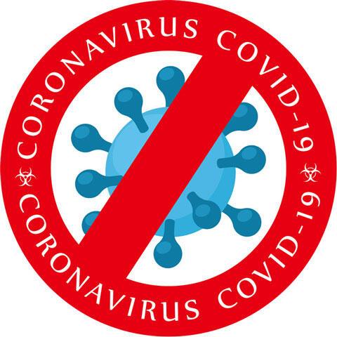 新型コロナウイルスの禁止マーク