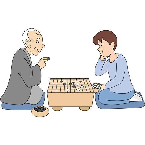 囲碁を打つ老人と少年