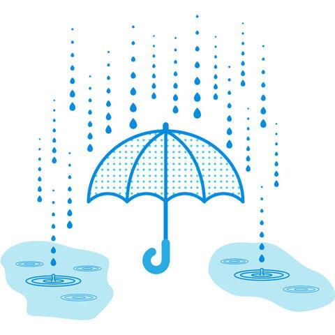 雨と傘と水溜まり