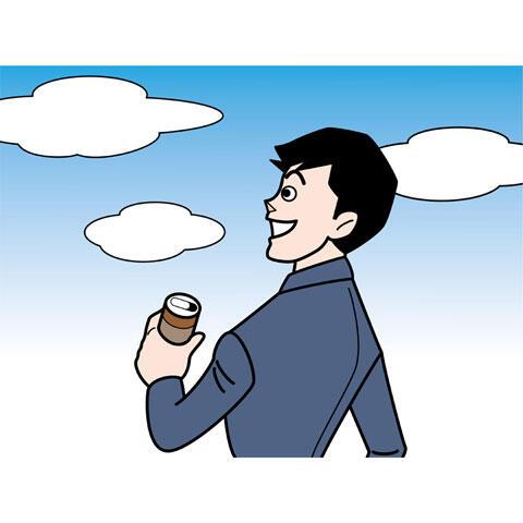 缶コーヒを飲むサラリーマン