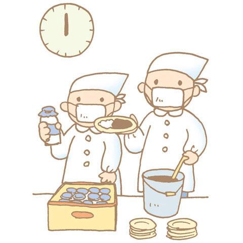 カレーライスと牛乳を配る給食当番の子供たち