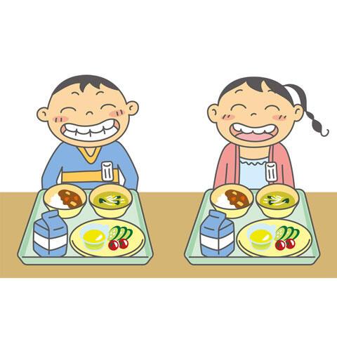 嬉しい給食の時間の子供たち