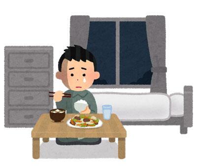 食事中の一人暮らしの男性