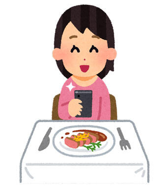 料理の写真を撮影する人