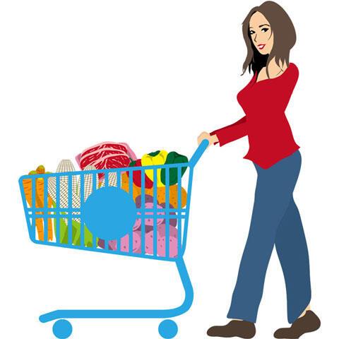 スーパーで買い出しする女性