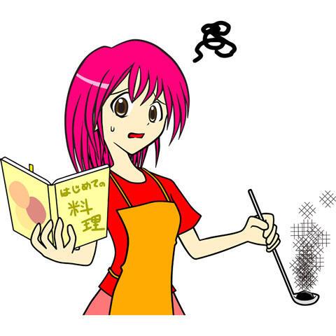 料理を失敗する料理初心者の女性
