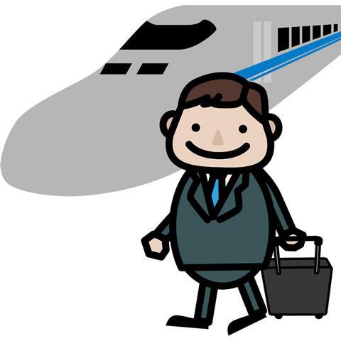 新幹線で出張に出かけるサラリーマン