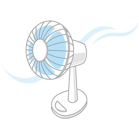 流れる風と扇風機