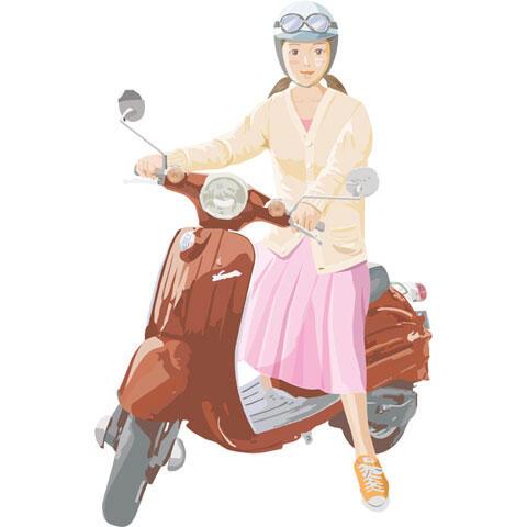 50CCのスクーターに乗る若い女性