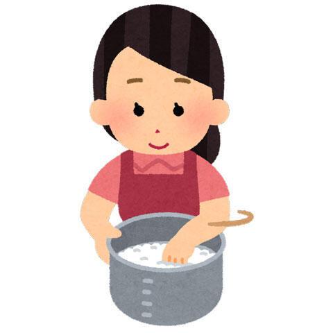 米を研ぐ人