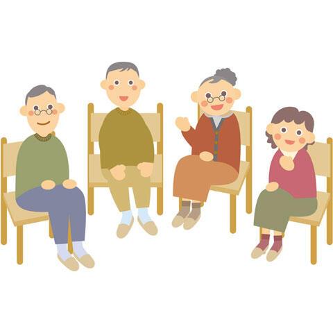 おしゃべりする老人たち