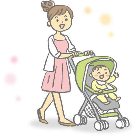 ベビーカーを押してお出かけするママと赤ちゃん