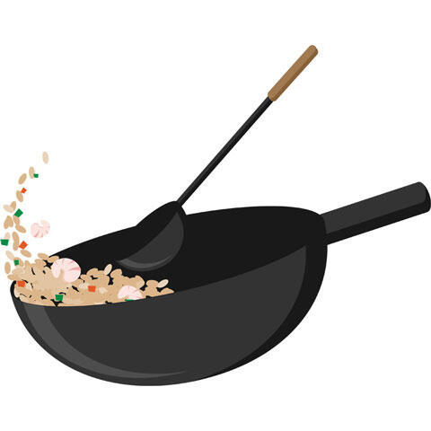 中華鍋と調理中のチャーハン