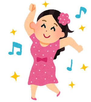 衣装を着て踊る女性