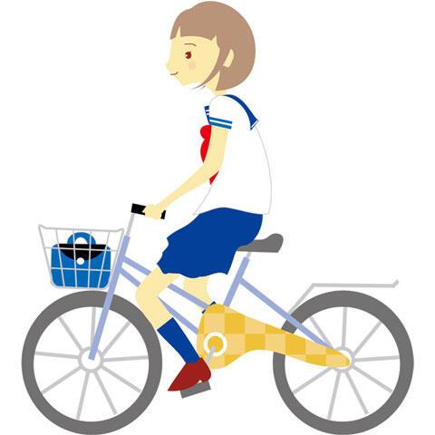 自転車通学する女子学生