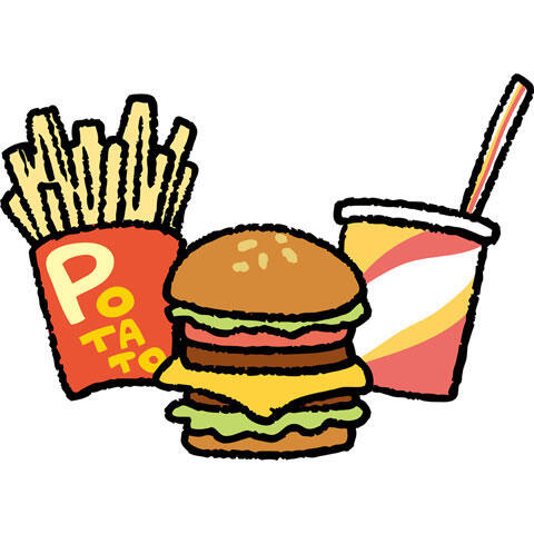 ハンバーガーとフライドポテトと飲み物のセット