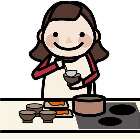 朝ご飯を作る母親