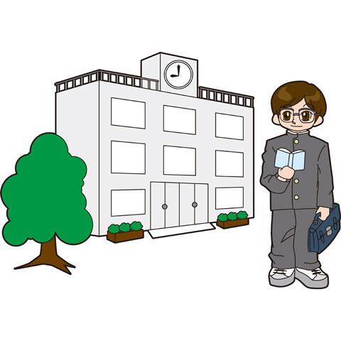 校舎とガリ勉風の学生