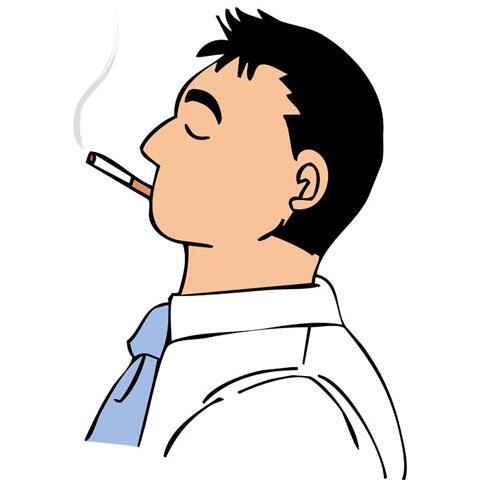 タバコを吸って一服するサラリーマン