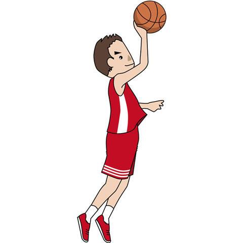 シュートするバスケットボール選手