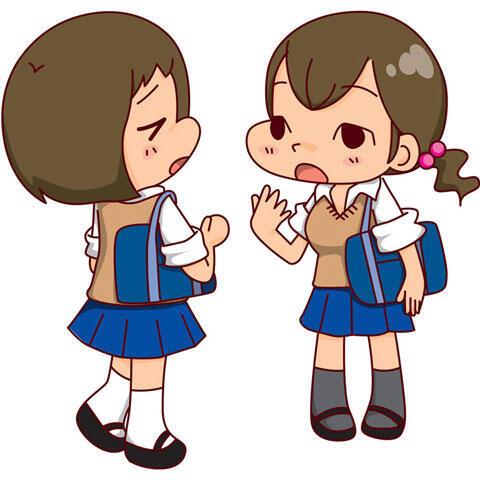 話をしながら下校する二人の女子高生
