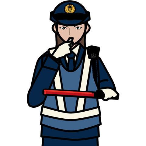 交通整理する婦警