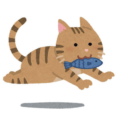 魚をくわえて走る猫