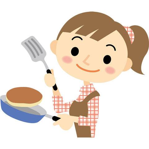 パンケーキを焼く女性