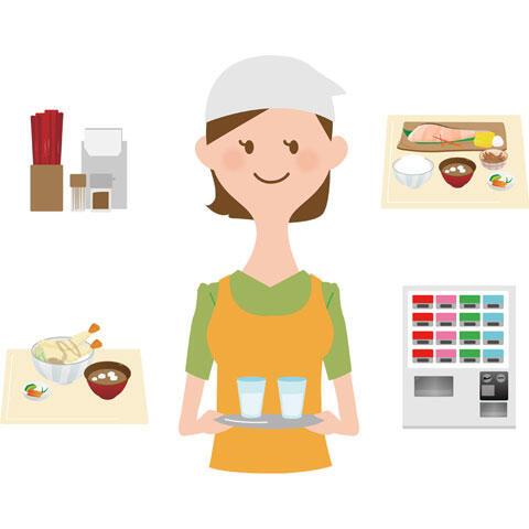 定食屋で働く女性