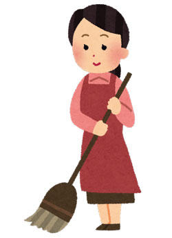 掃除をしている女性