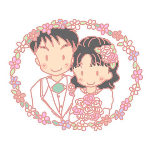 結婚式の日の新郎新婦の写真