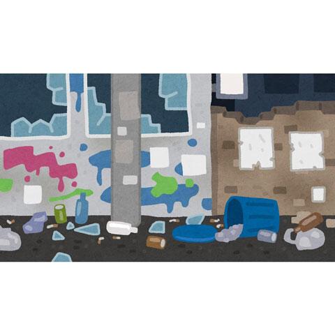 ゴミが散らかった汚い町