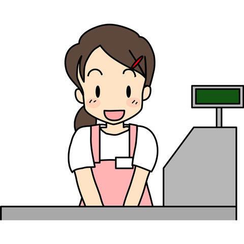 レジ打ちのアルバイトをする少女
