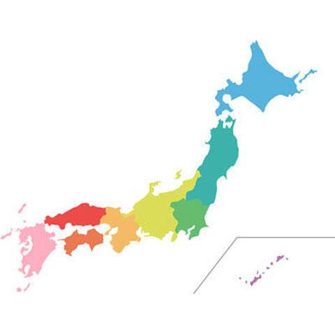 色分けされた日本地図
