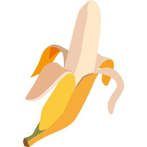 皮をむいた1本のバナナ