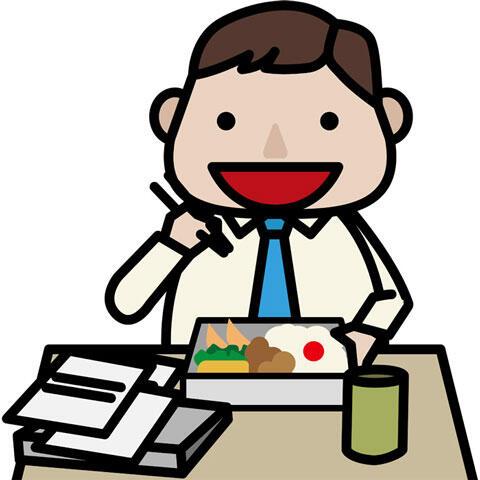 弁当を食べるサラリーマン男性