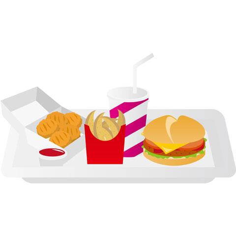 チキンナゲットとフライドポテトとハンバーガーのセット