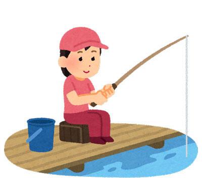 魚釣りをしている女性 釣り堀