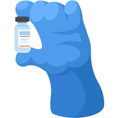 手に持ったワクチン