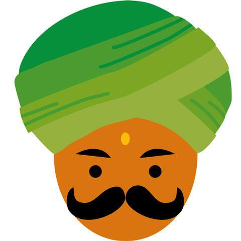 ターバンを巻いた髭のインド人