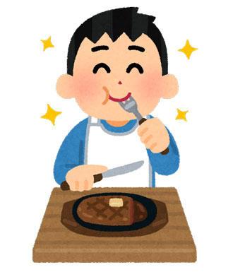 ステーキを食べる人
