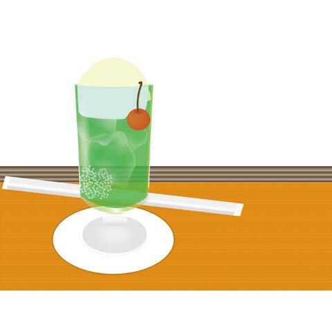 喫茶店のメロンクリームソーダ